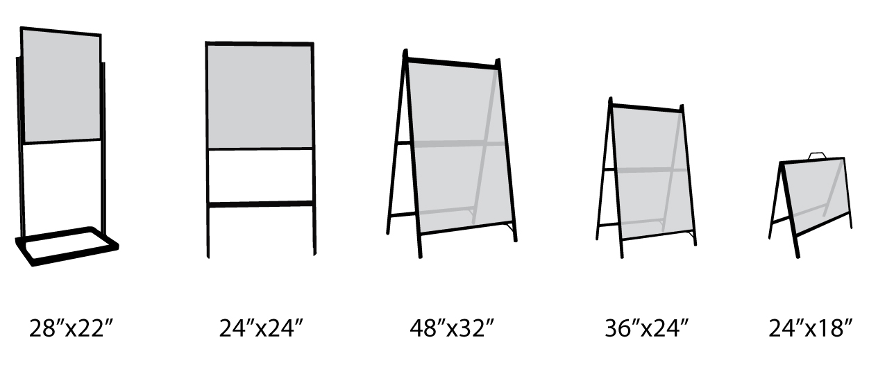 different types and sizes A-frame signs